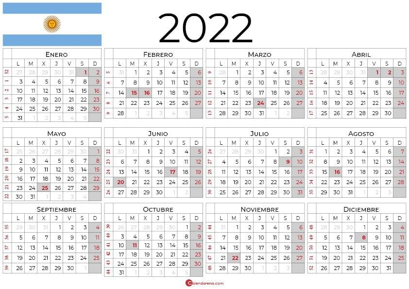 Calendario Argentina 2022 con días festivos