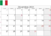 Calendario Dicembre 2021 da stampare