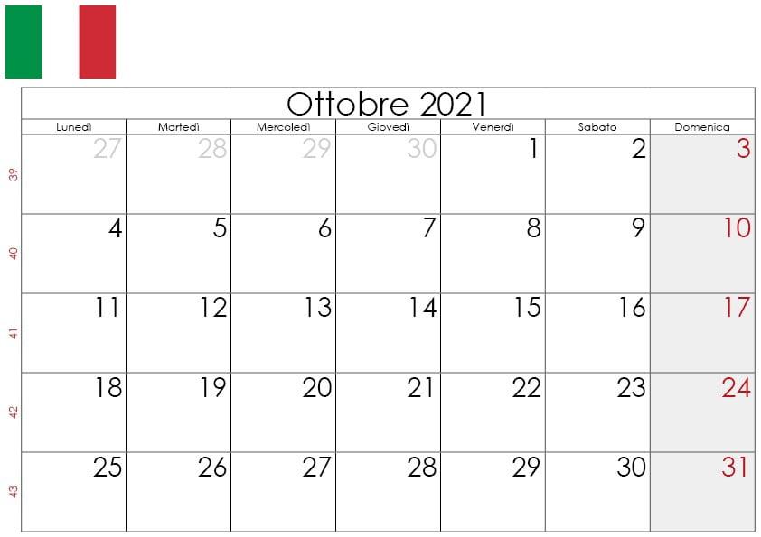 Calendario Ottobre 2021 da stampare