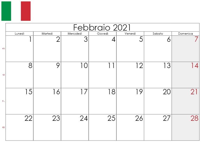 Calendario febbraio 2021 da stampare2