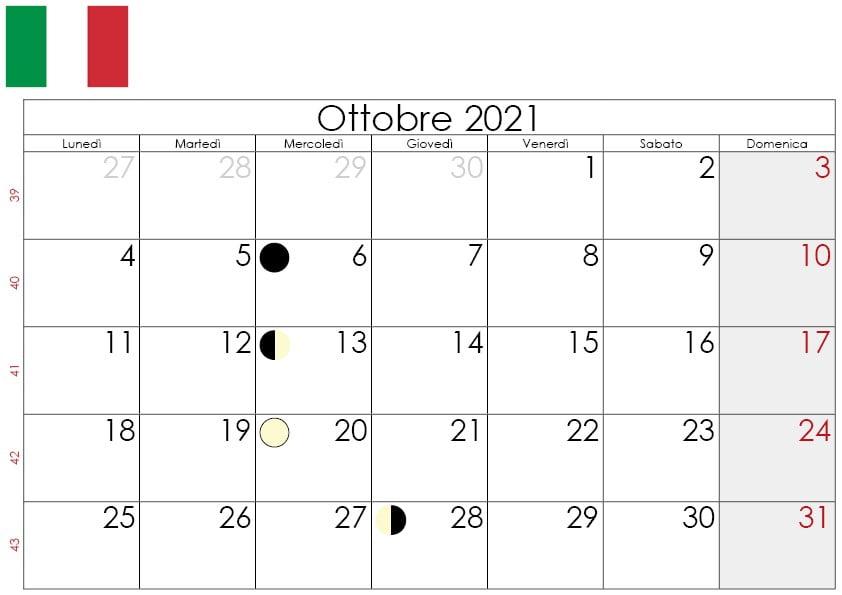 Calendario Lunare 2021 Ottobre Calendario Ottobre 2021 da stampare gratuitamente 🇮🇹