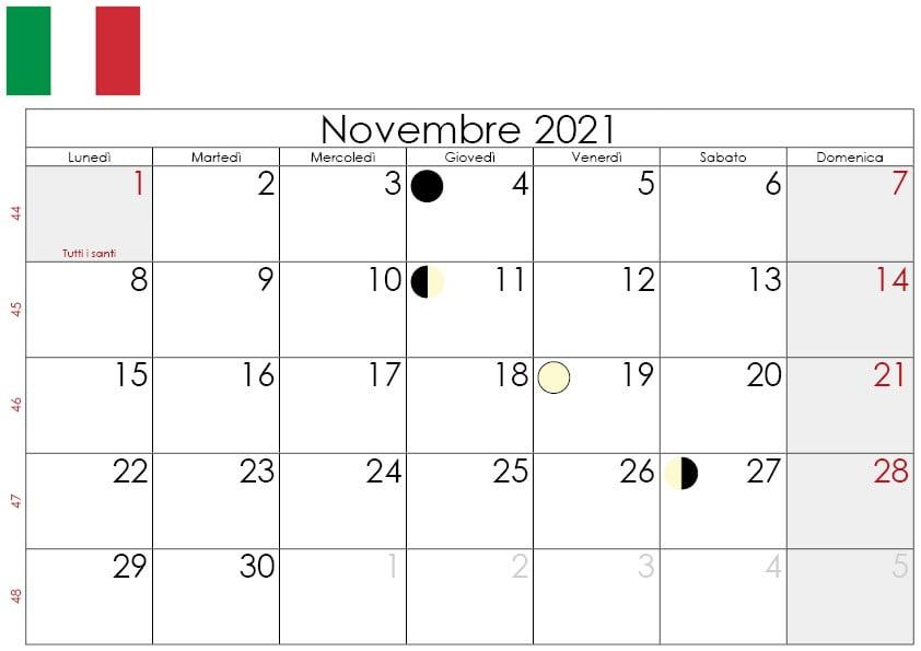 Calendario lunare Novembre 2021