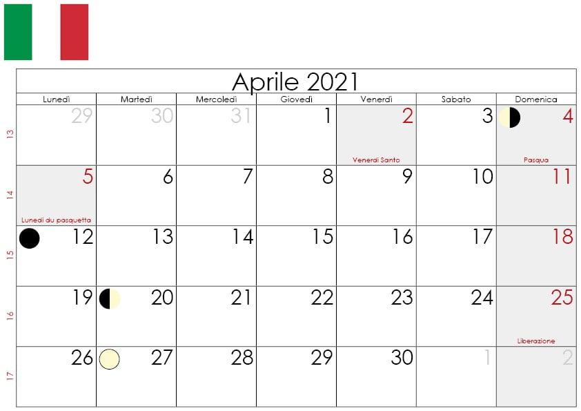 Calendario lunare aprile 2021