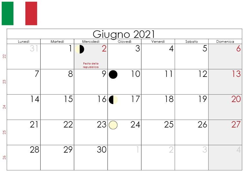 Calendario lunare giugno 2021
