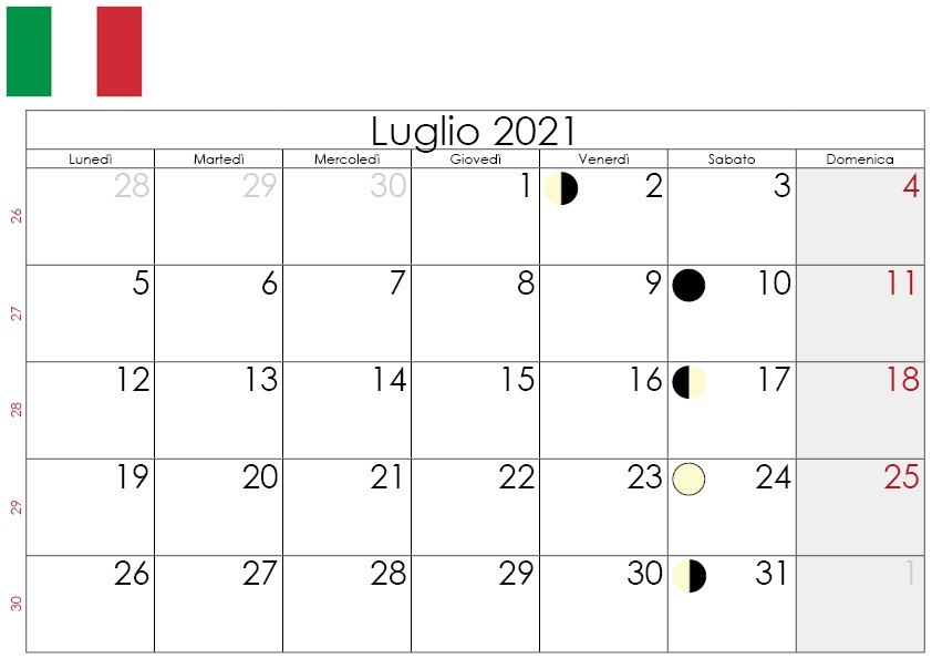 Calendario lunare luglio 2021