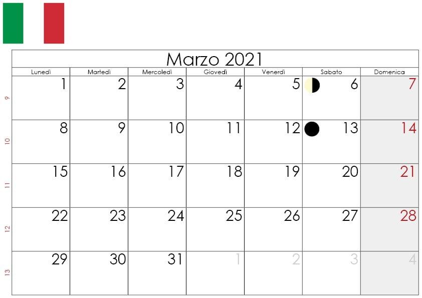 Calendario lunare marzo 2021