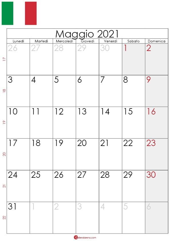 Calendario maggio 2021 da stampare