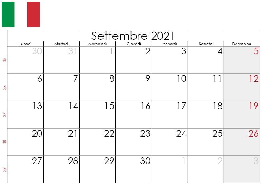 Calendario settembre 2021 da stampare