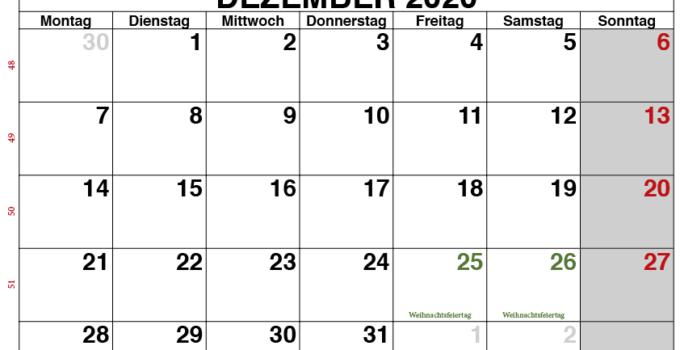 Kalender Dezember 2020 Vorlage 1