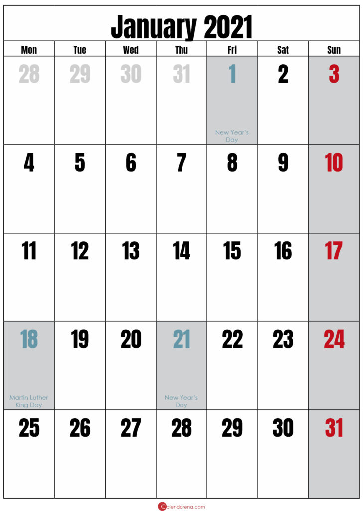 blank calendar january 2021