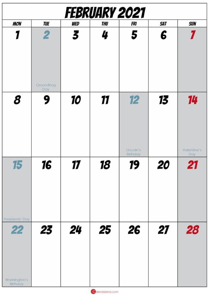 blank february 2021 calendar
