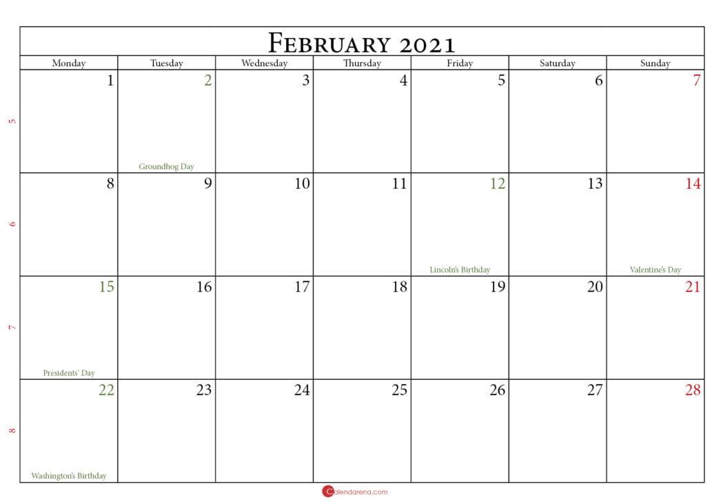 calendar february 2021