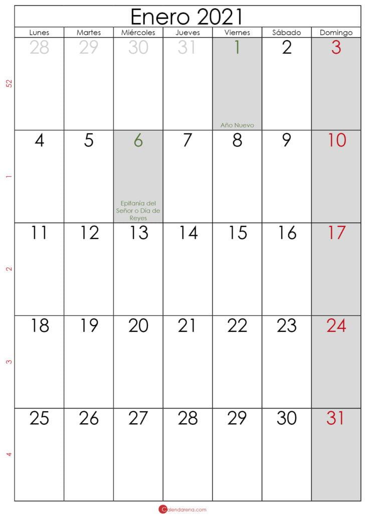 calendario 2021 enero