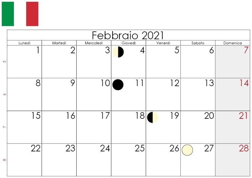 calendario lunare febbraio 2021