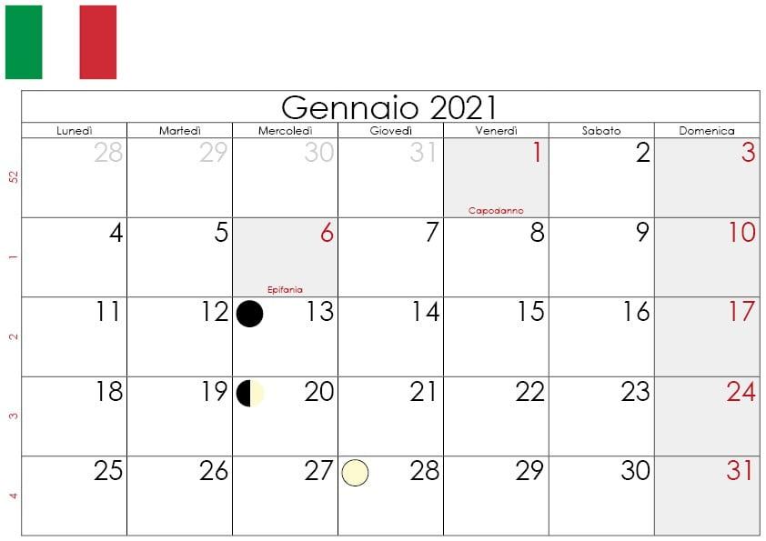 calendario lunare gennaio 2021
