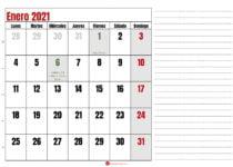 calendario notas enero 2021