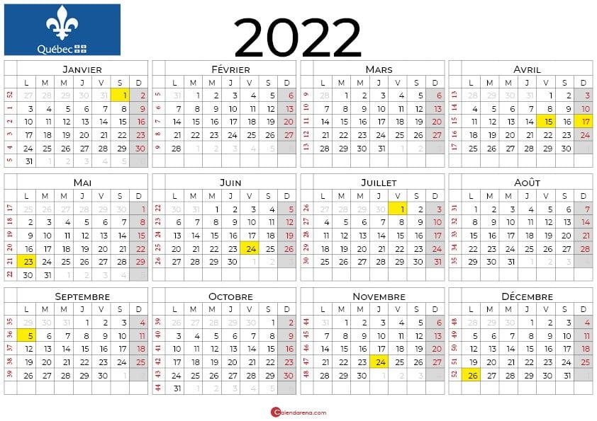 Calendrier 2021 à imprimer [Québec]🇨🇦