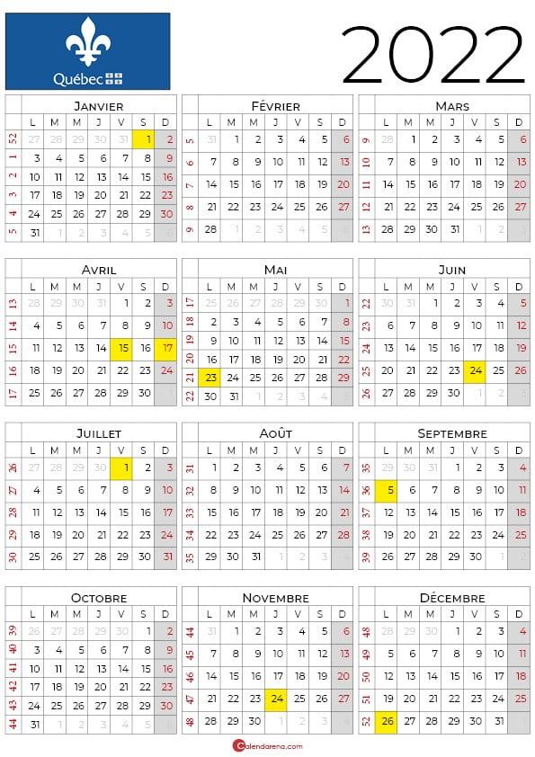 calendrier 2022 à imprimer quebec_portrait