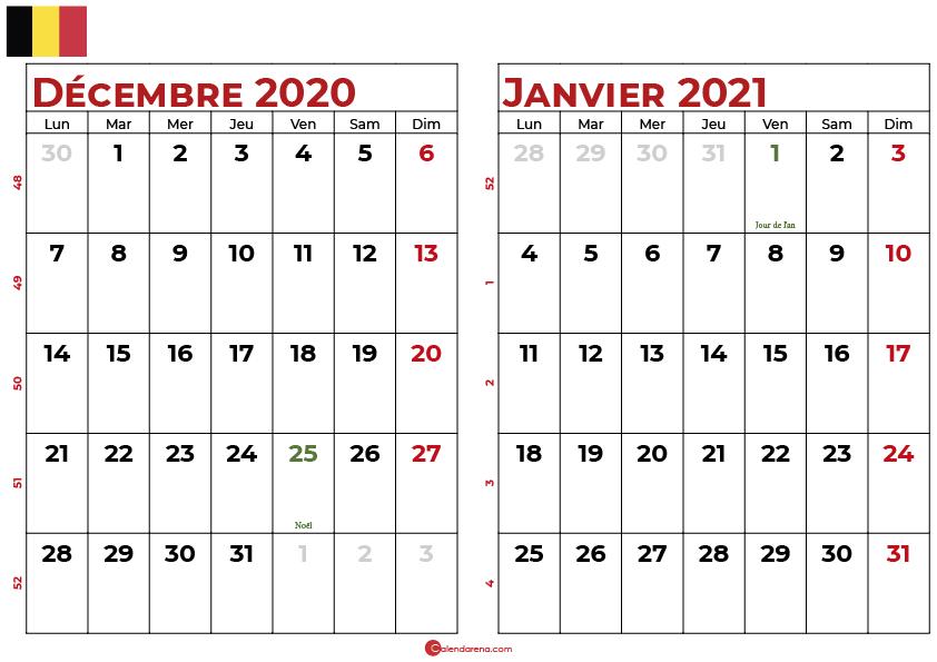calendrier decembre 2020 janvier 2021 be