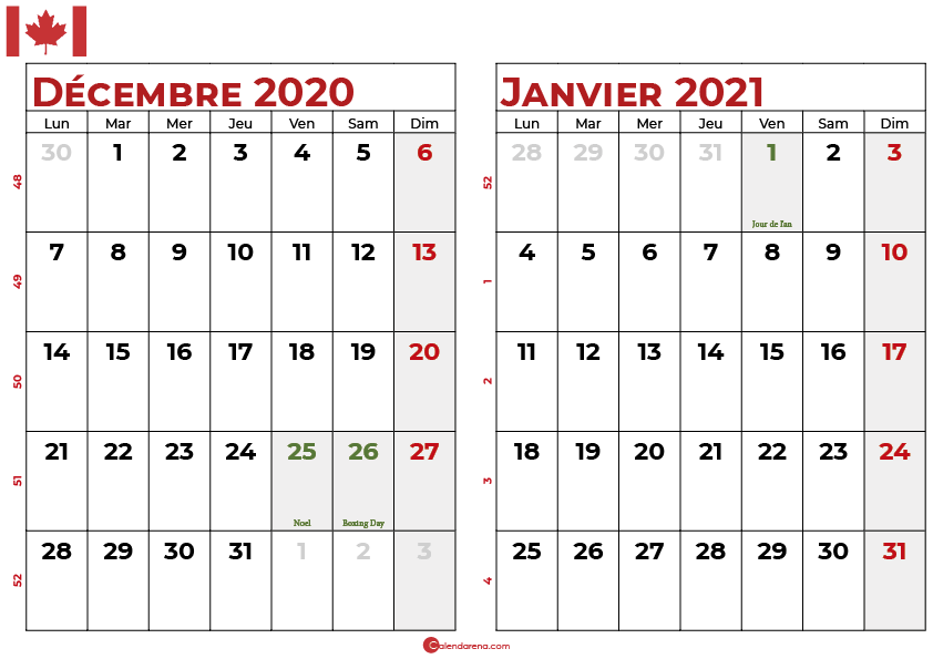 calendrier decembre 2020 janvier 2021 qc