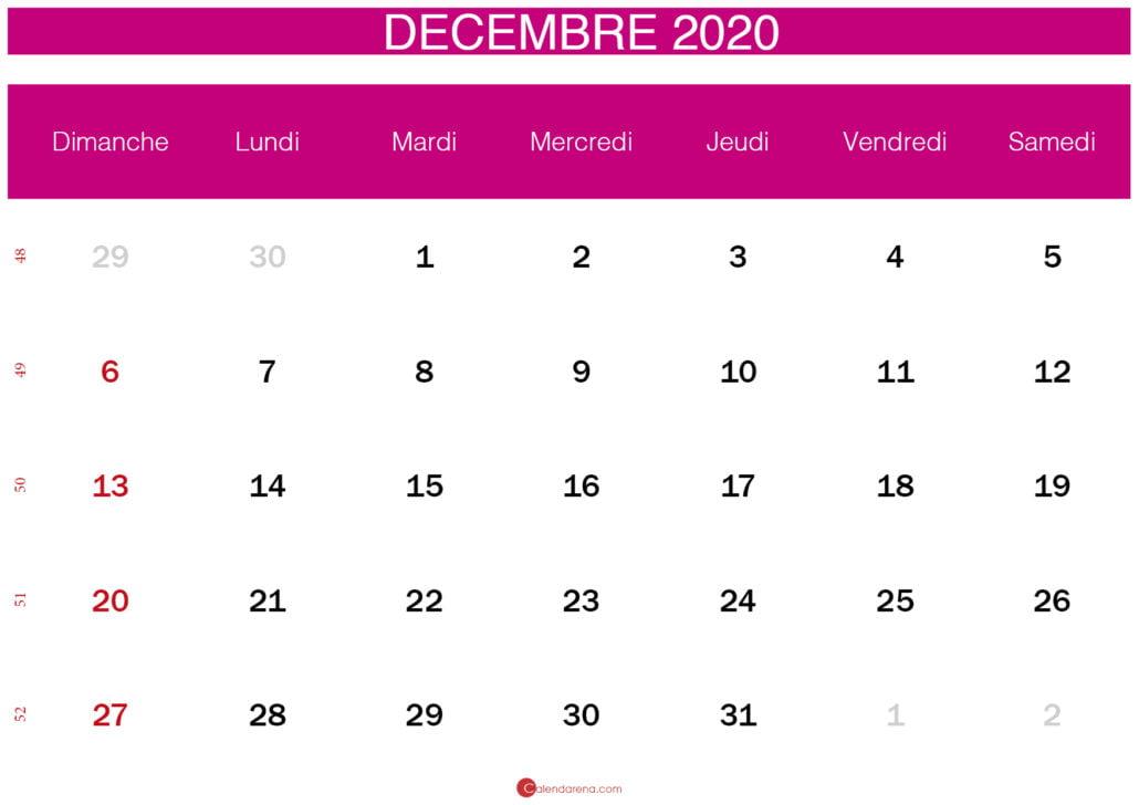 calendrier de décembre 2020