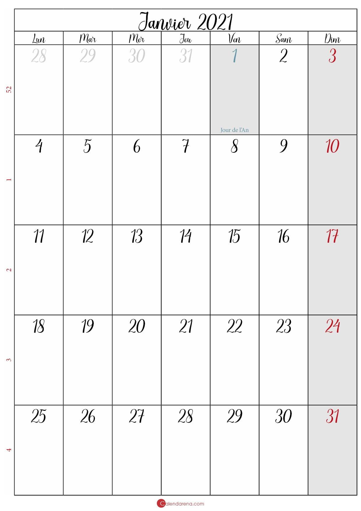 calendrier janvier 2020 à imprimer gratuit_portrait