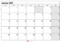 calendrier janvier 2021