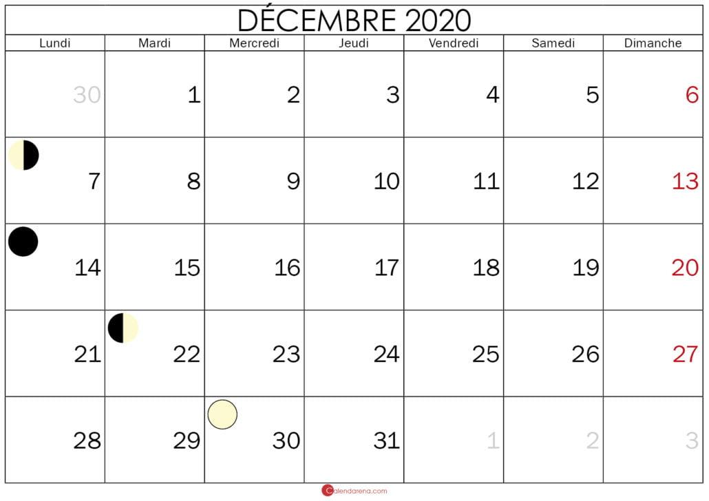 calendrier lunaire decembre 2020