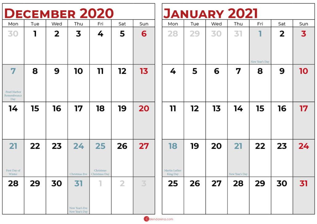 december 2020 january 2021 calendar