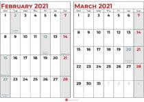 february march 2021 calendar