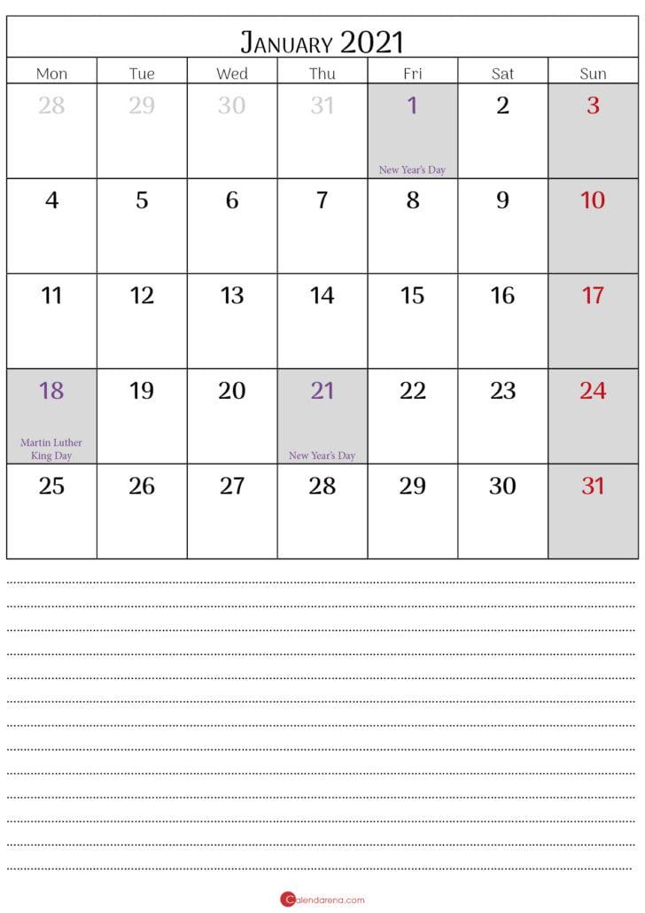 jan calendar 2021