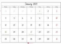january 2021 calendar printable