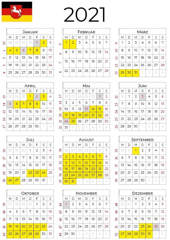 Kalender 2021 Niedersachsen Zum Ausdrucken