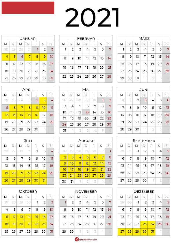 kalender 2021 ferien hessen hochformat