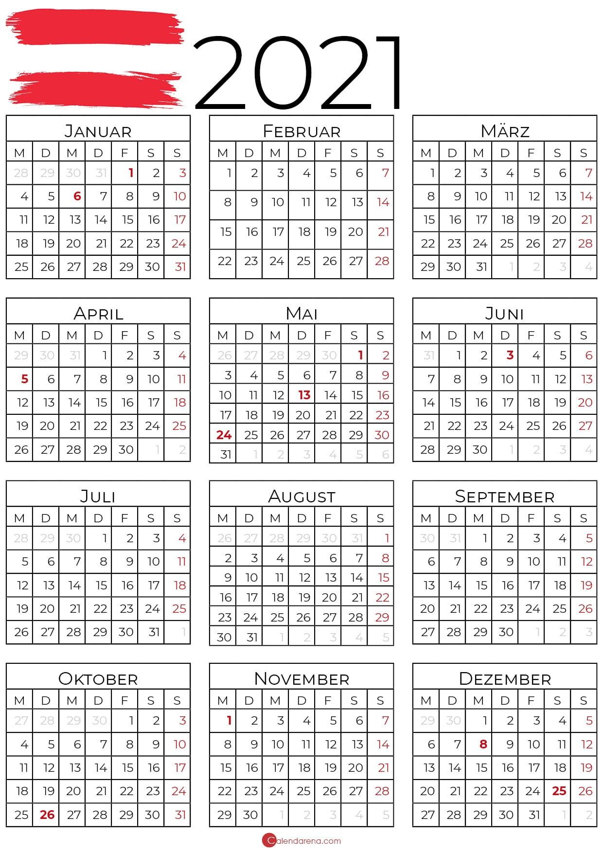 Kalender 2021 Österreich zum Ausdrucken als PDF - Calendarena