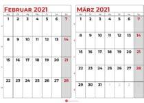 kalender februar märz 2021