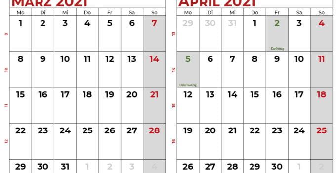 kalender märz april 2021 DE