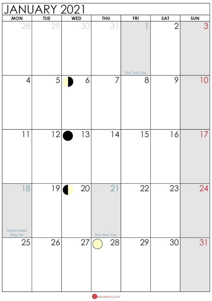 moon phase january 2021