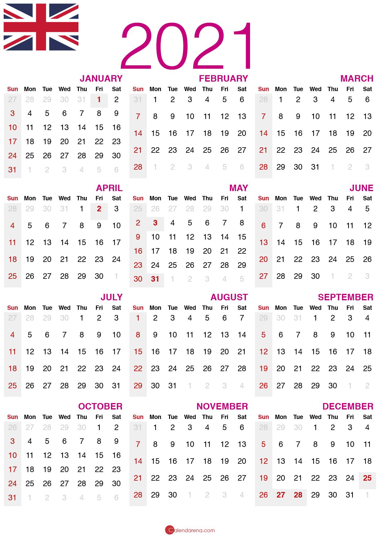 Download Free 2021 calendar UK 🇬🇧 (United Kingdom ...