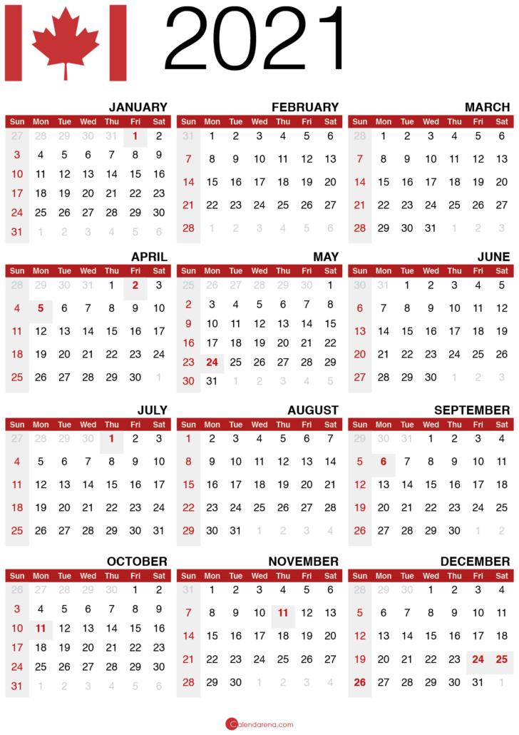 2021 calendar printable canada