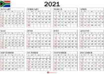 Calendar 2021 South Africa