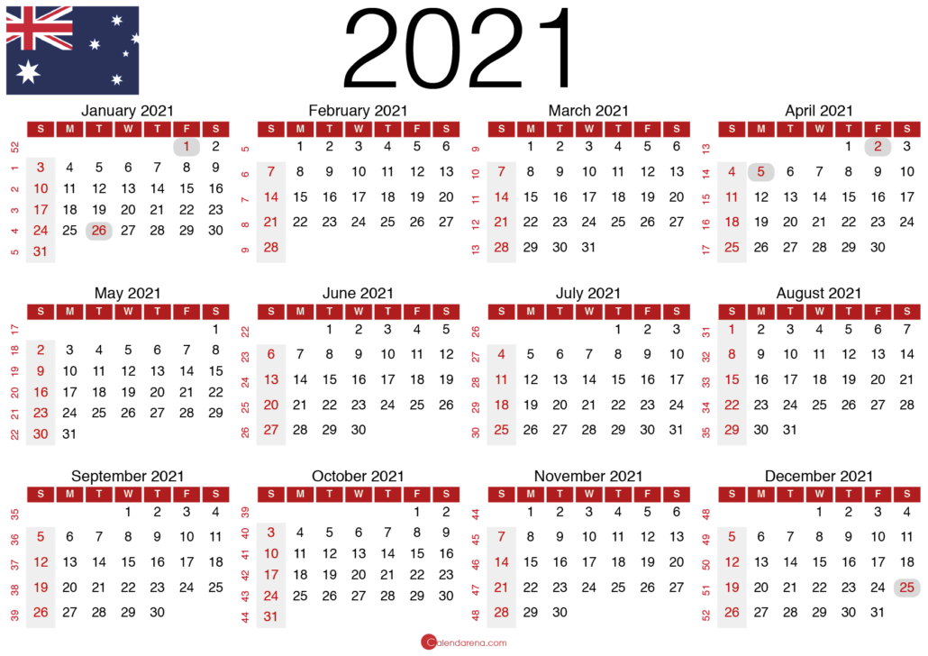 2021 calendar with public holidays landscape