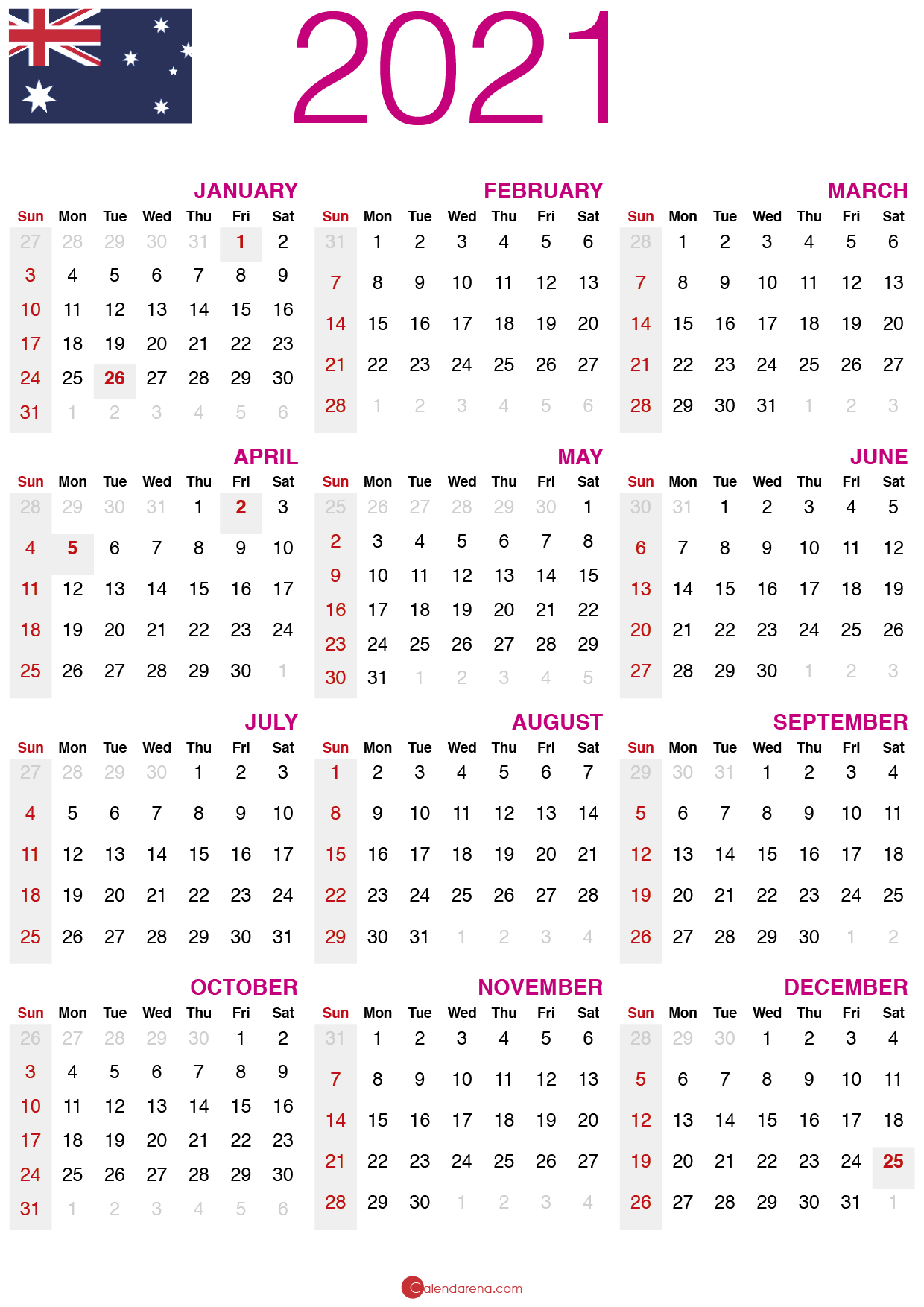 Download Free 2021 Calendar Australia