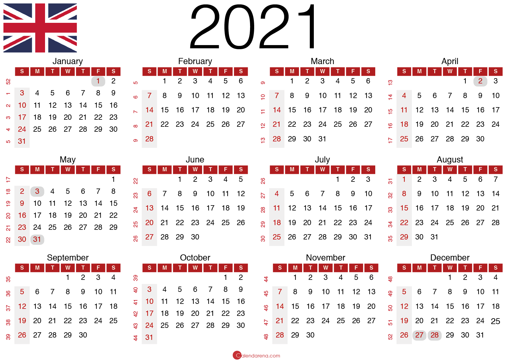 Download Free 20 Calendar UK 🇬🇧 United Kingdom 🇬🇧