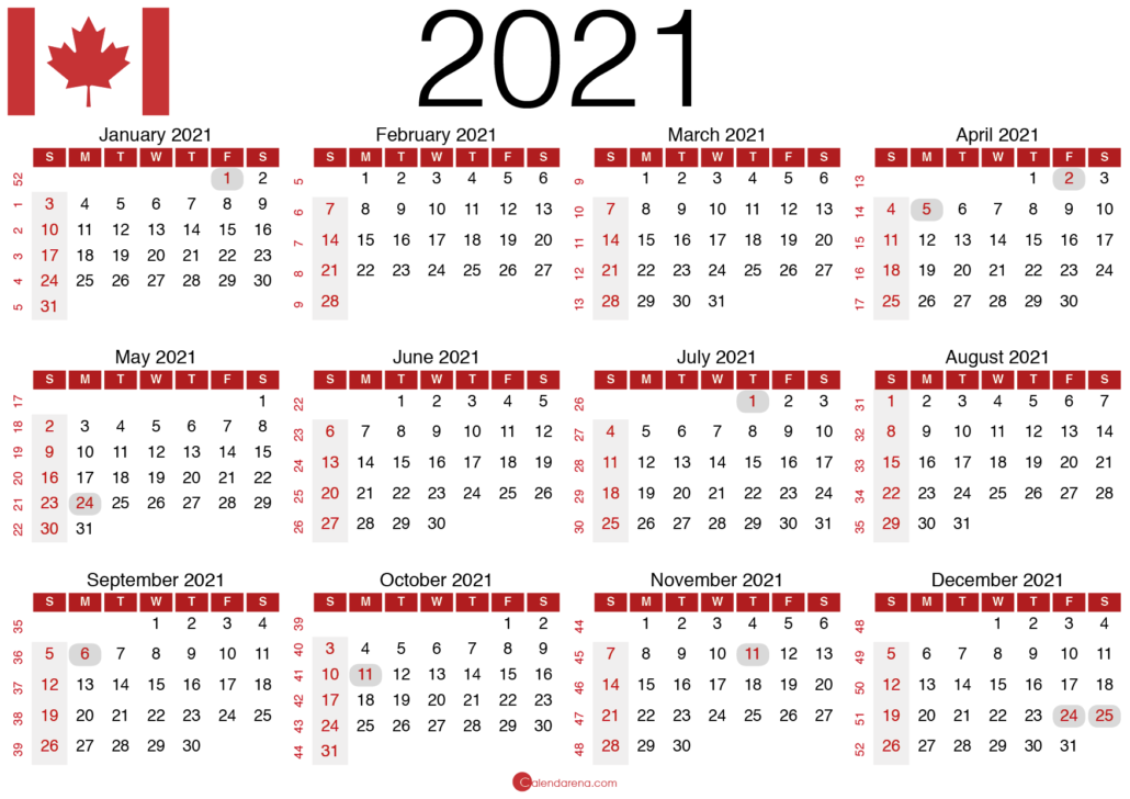 2021 canadian calendar