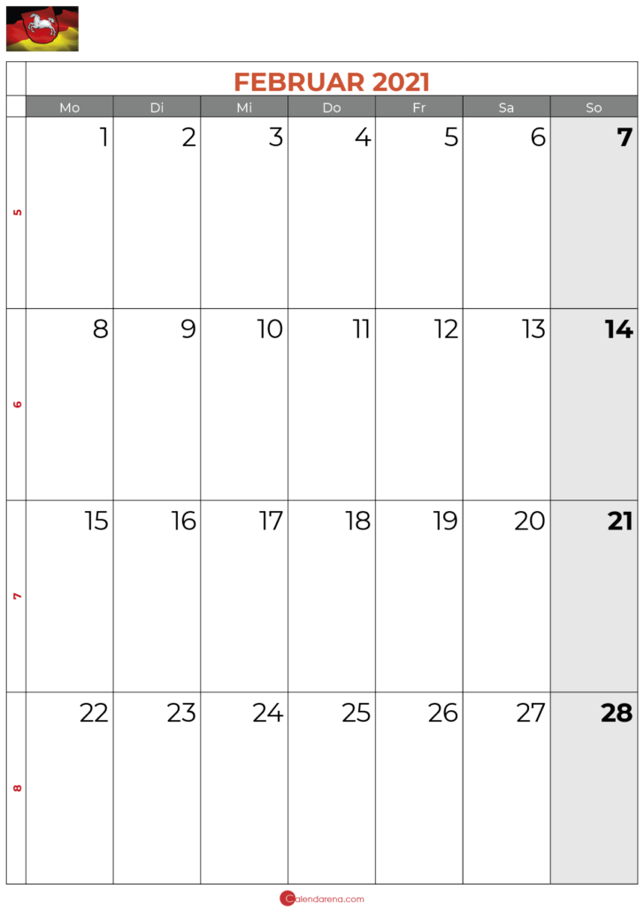 2021 februar kalender Niedersachsen