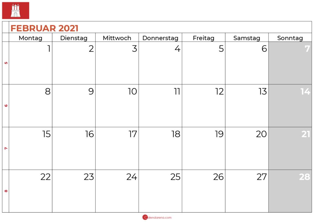 2021 februar kalender hamburg