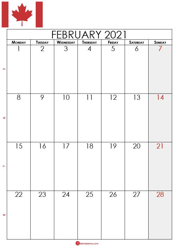 2021 february canada calendar