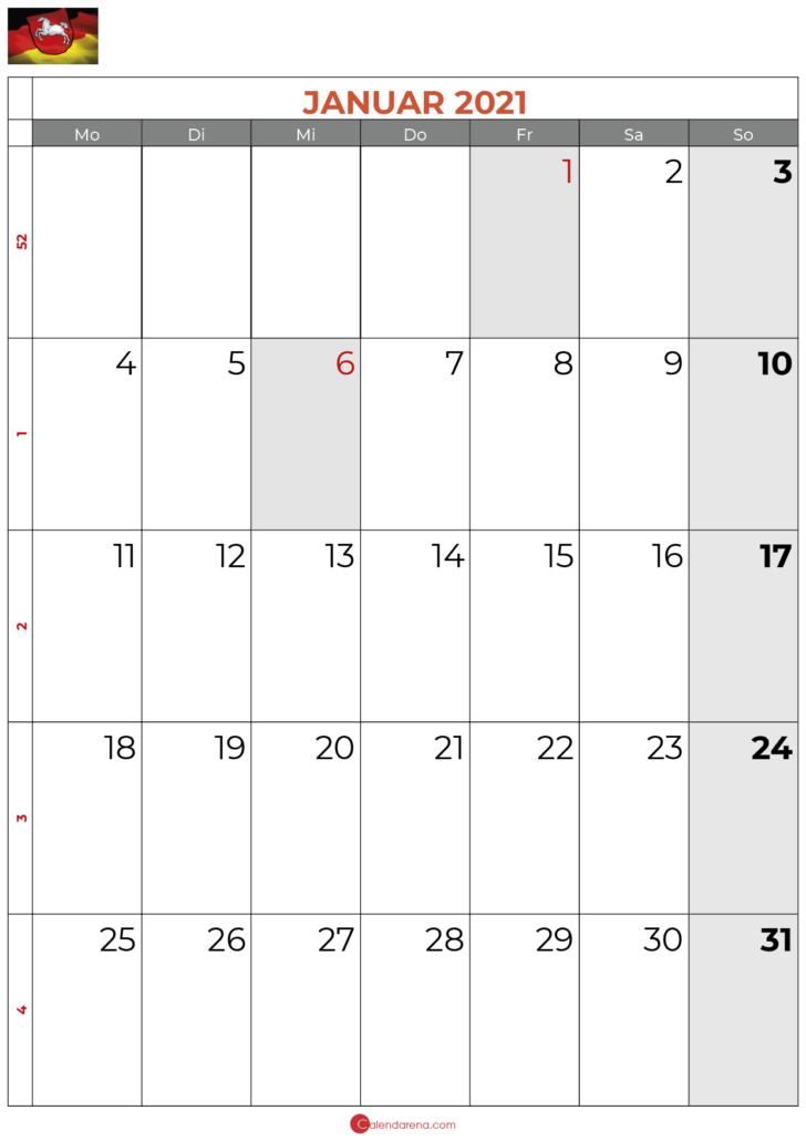 2021 januar kalender Niedersachsen