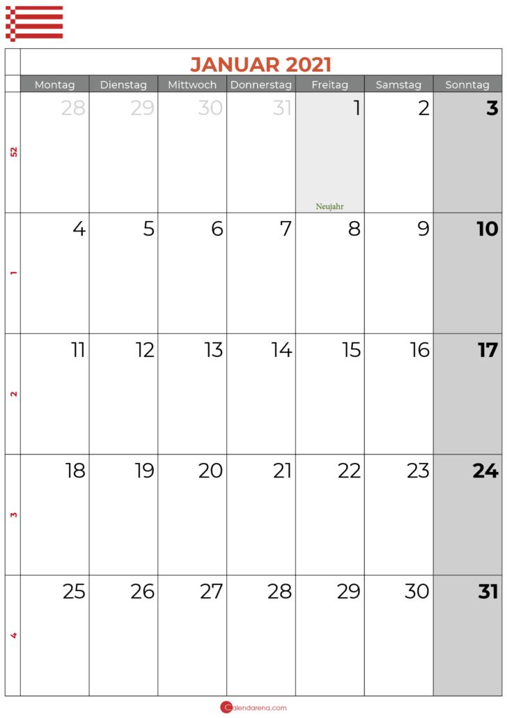 2021 januar kalender bremen